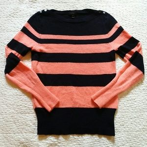 "J Crew ""Buttoned Boatneck Sweater In Stripe"" XL"